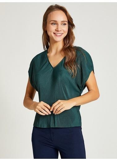 Vekem-Limited Edition V Yaka Pliseli Bluz Yeşil